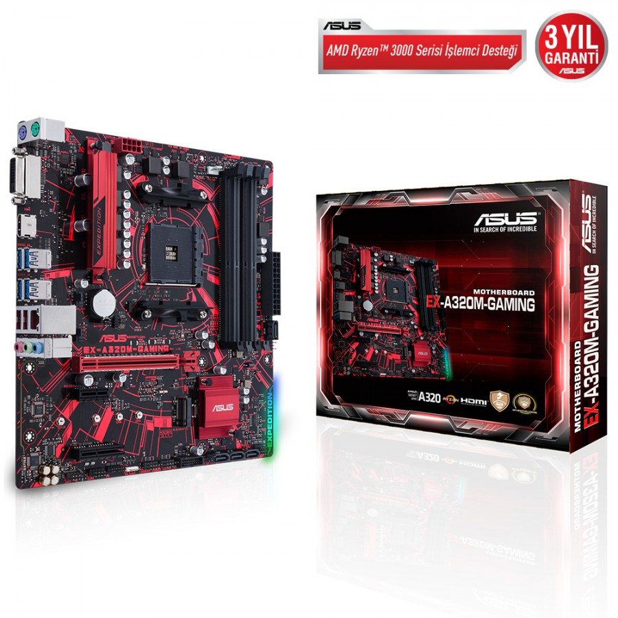 ASUS EX-A320M-GAMING DDR4 USB3.1 AURA RGB MATX AM4