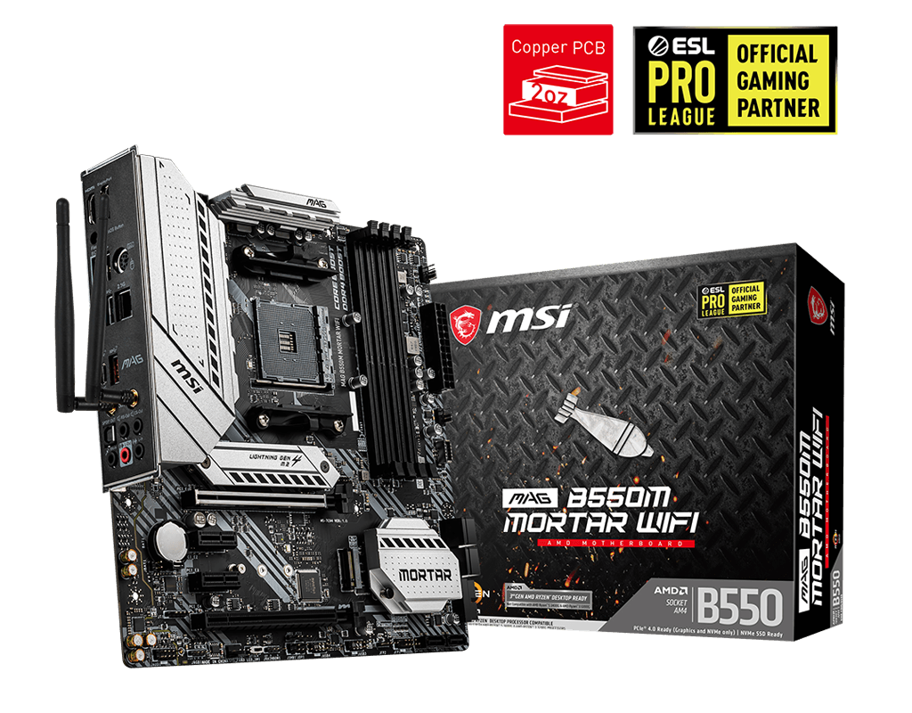 MSI MAG B550M MORTAR WIFI DDR4 4400(OC)Mh MATX AM4